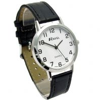 Ravel Mens Super-Clear Easy Read Quartz Watch Black Strap White Face R0102.02.1A